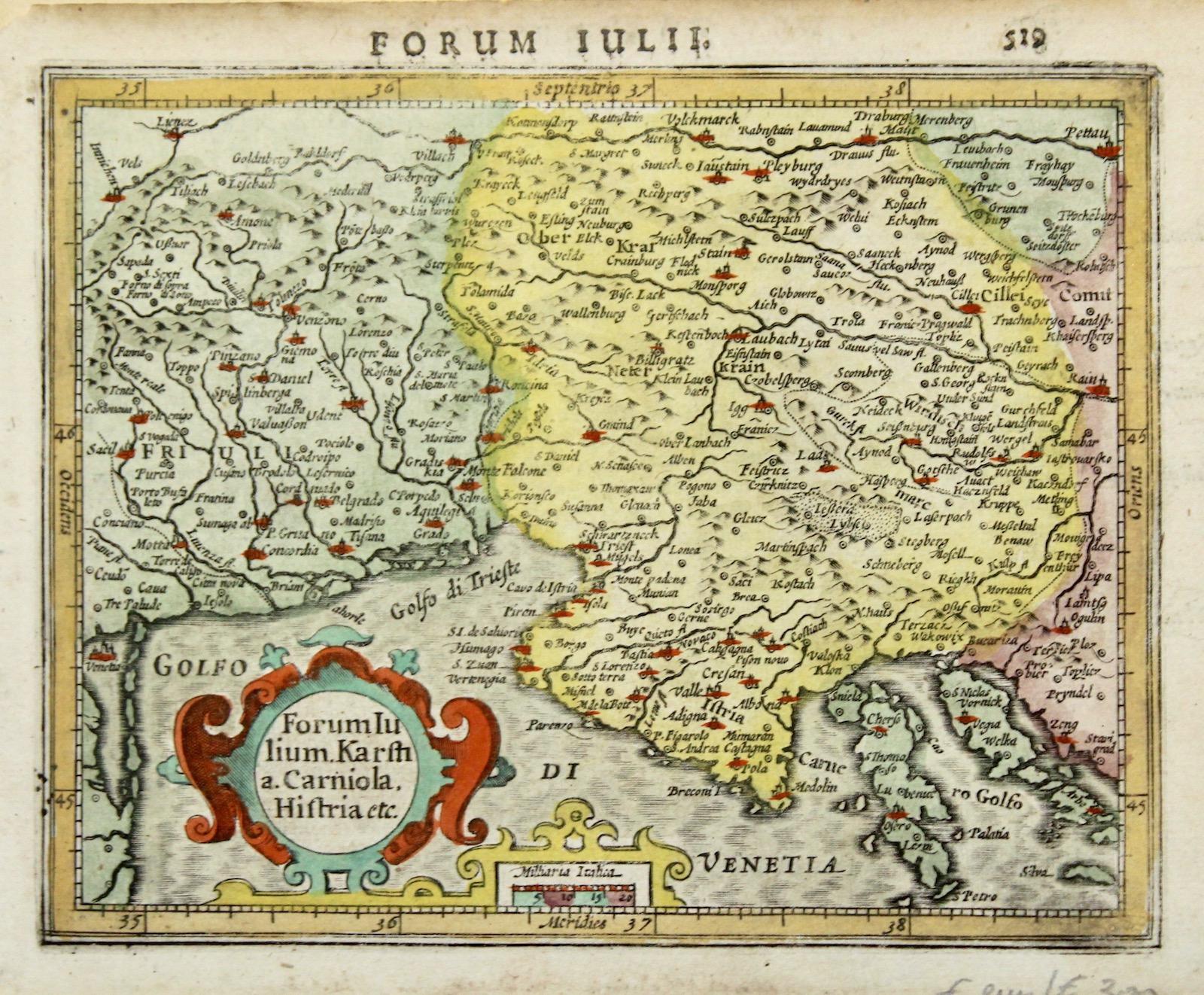 Antica cartina del Friuli e dell'Istria