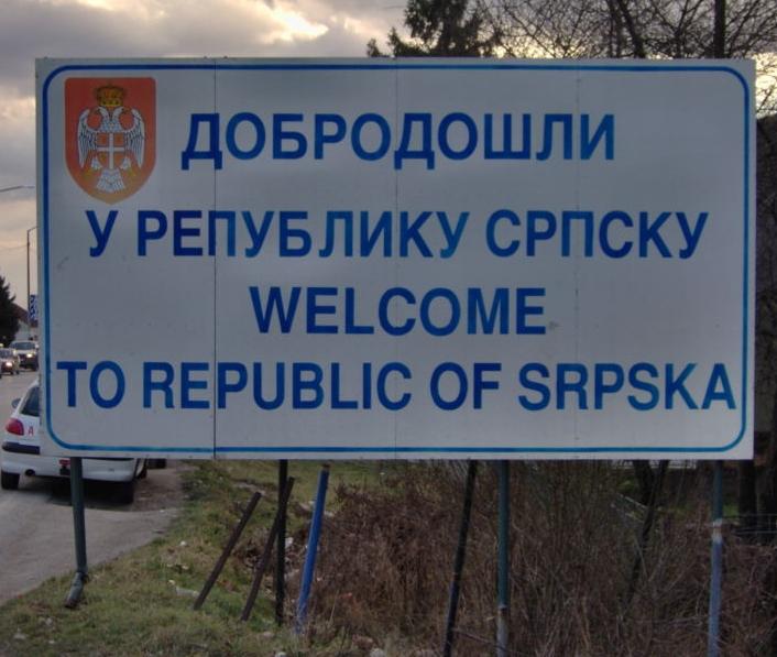 I certelli all\'ingresso della Republika Srpska