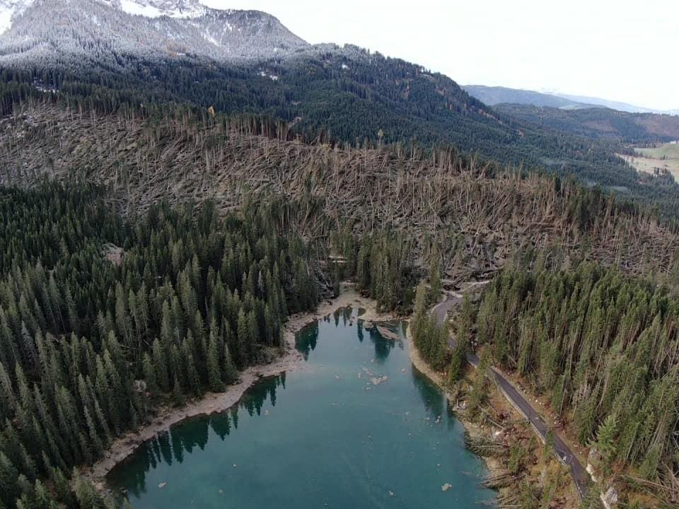 Il lago di Erdemolo dopo il passaggio di Vaia