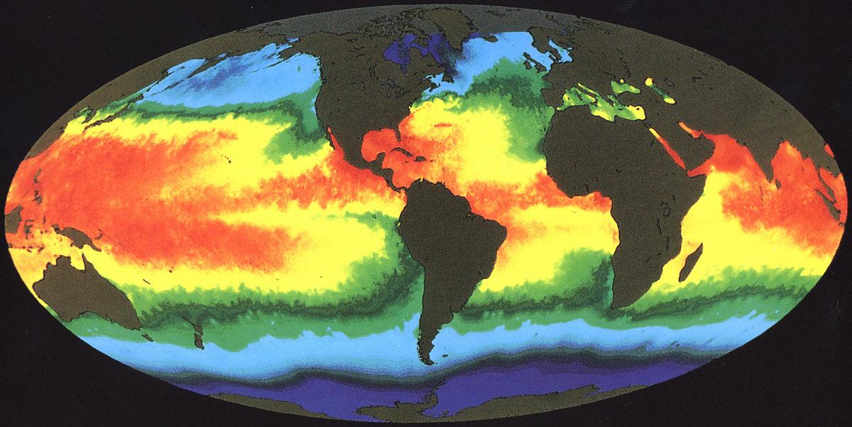 La temperatura degli oceani in superficie