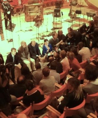 La conferenza stampa nella cerimonia di inaugurazione dell\'auditorium