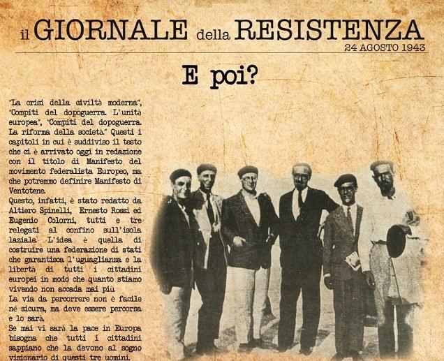 L'annuncio del Manifesto di Ventotene